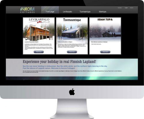Aurora Cottages verkkosivusto